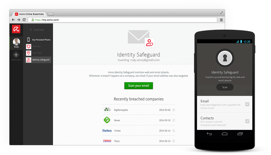 Identity Safeguard from Avira Online Essentials