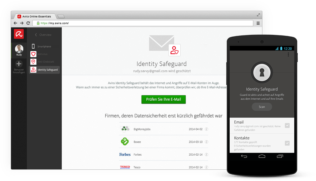 Identity Safeguard von Avira Online Essentials
