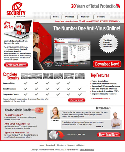 Fake Avira antivirus Website