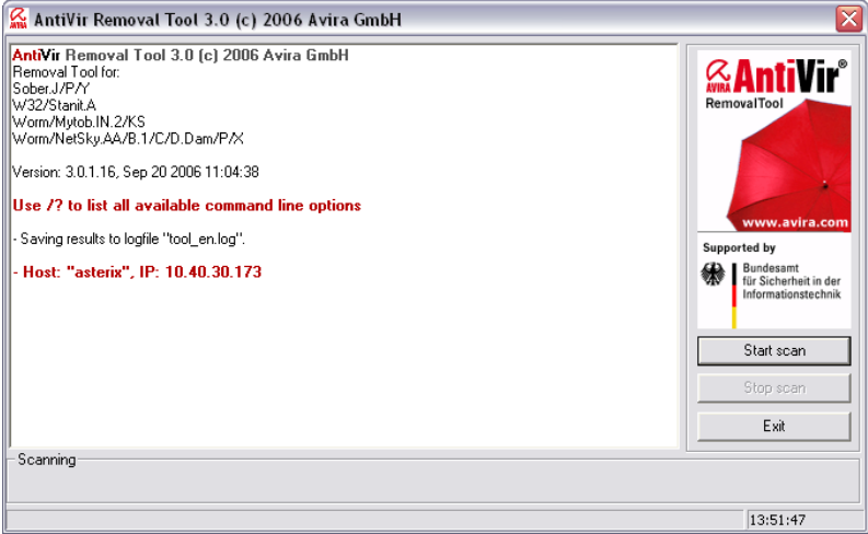 Avira AntiVir Removal Tool Screenshot