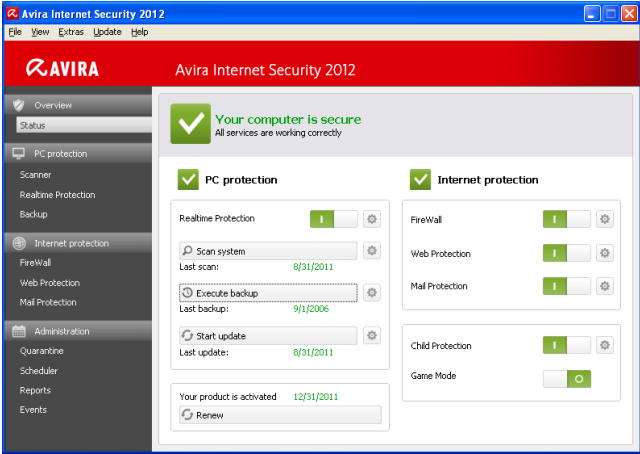 Avira Internet Security Screenshot
