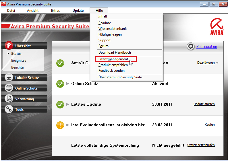 Avira Premium Security Suite: Hilfe -> Lizenzmanagement