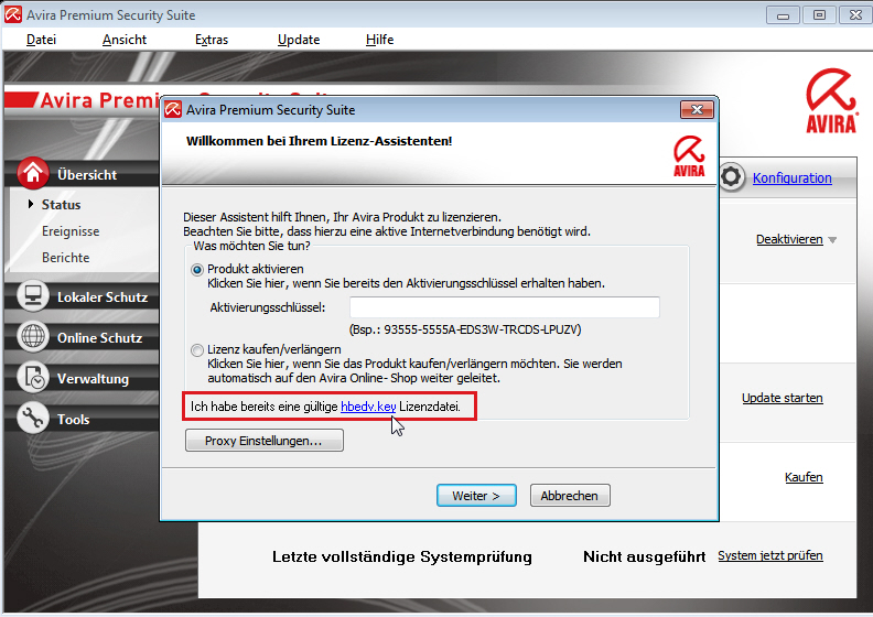 Avira Premium Security Suite: Lizenz-Assistent