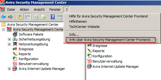 Avira SMC - Info über Avira Security Management Center Frontend
