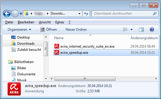 Windows Explorer - Downloads - Avira System Speedup