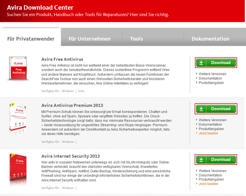 Avira Download Center - Für Privatanwender