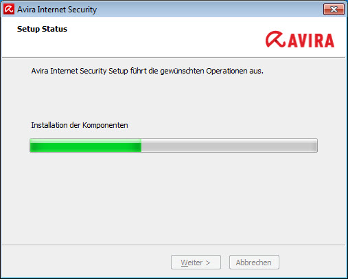 Avira Internet Security - Setup Status - Installation der Komponenten