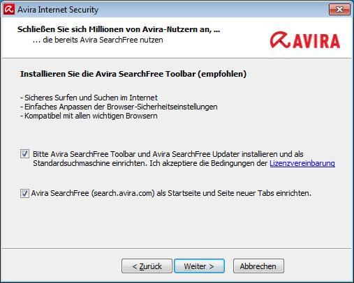 Avira Internet Security > Avira SearchFree Toolbar installieren