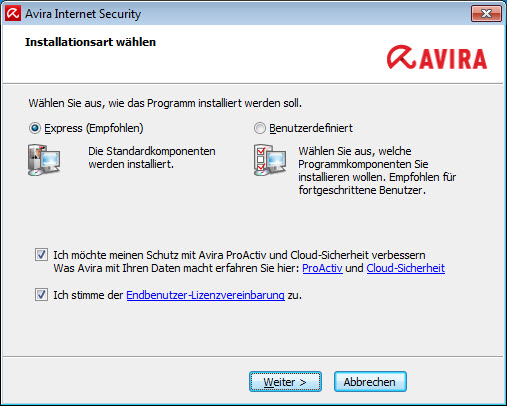 Avira Internet Security - Installationsart wählen