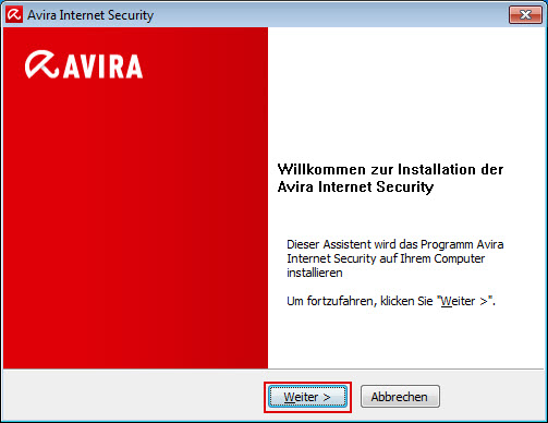 Avira Internet Security - Willkommens-Fenster