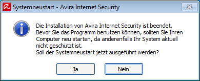 Avira Internet Security - Dialogfenster - Systemneustart nach Installation