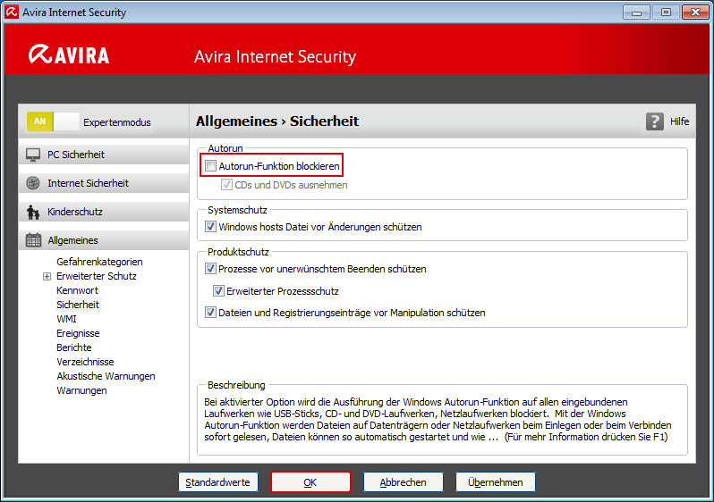General - Security - Block autostart function