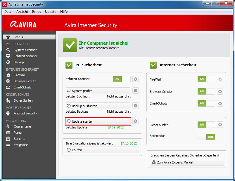 Avira Control Center - Update starten