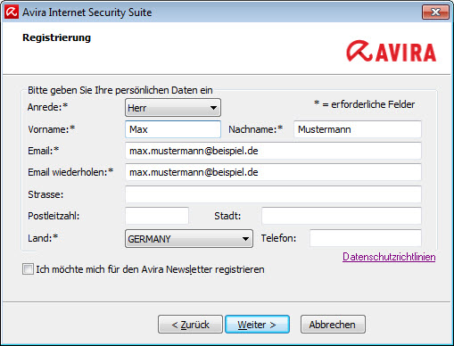 Avira Internet Security Suite - Registration - check data