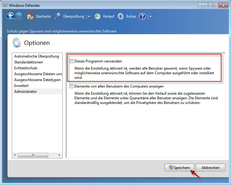 Windows Defender - Administrator - Use this program