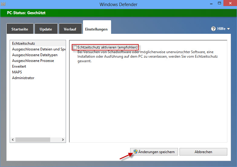 Win 8 deactivation Windows Defender