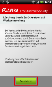 Avira Free Android Security >> disable device administration