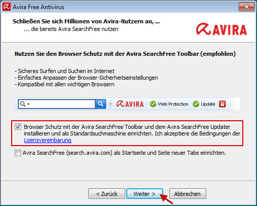 Avira Free Antivirus - Browser Schutz mit Avira SearchFree Toolbar
