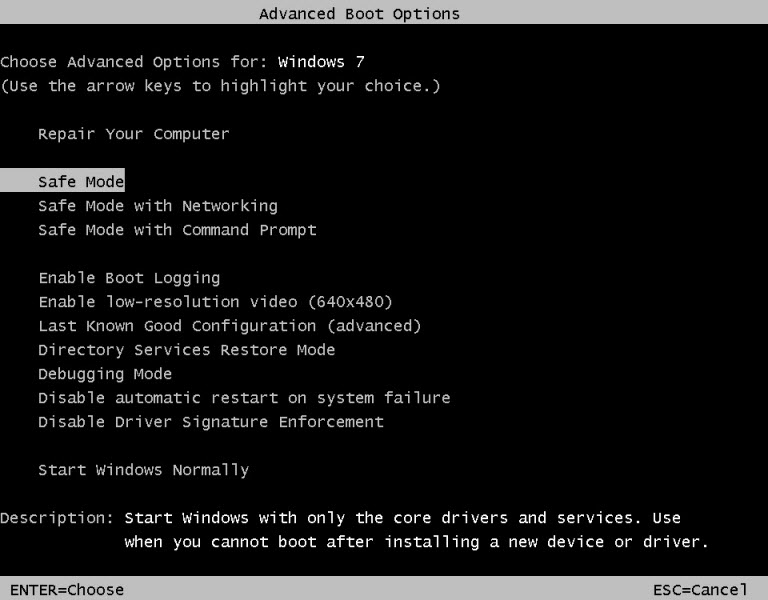 Advanced Boot Options - Safe Mode
