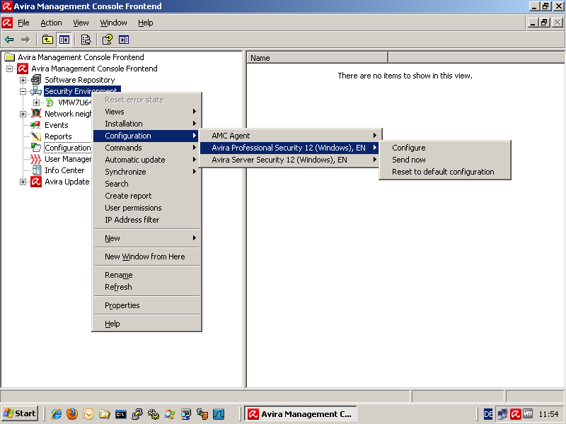 AMC - Configuration - Avira Professional Security - Configure