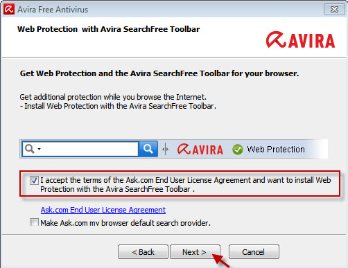Web Protection と Avira SearchFree Toolbar - EULA に同意する