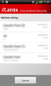 Avira Free Android Security - Add contact - list