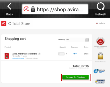 Avira Antivirus Security - Upgrade to Pro - Shopping card