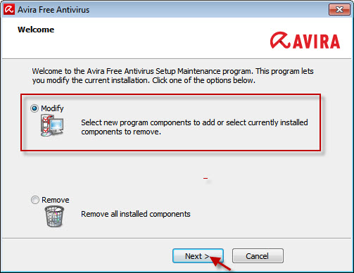 Avira Free Antivirus - Welcome Window - Modify