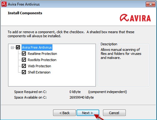 Avira Free Antivirus – Installer des composants