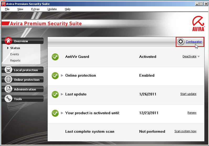 Avira Premium Security Suite: Configuration