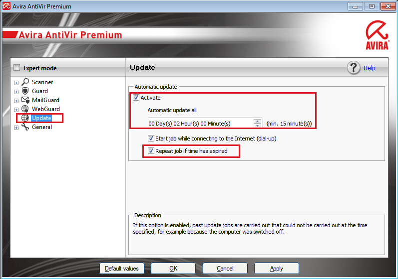 Avira AntiVir Premium: Expert mode - Update - Automatic update all