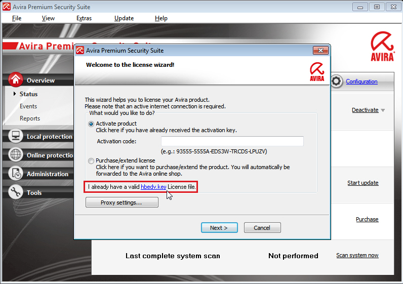 Avira Premium Security Suite: license wizard