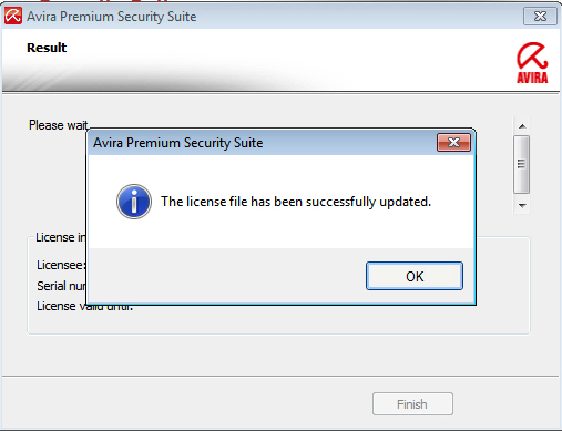 Avira Premium Security Suite: The license file has been successfully updated.