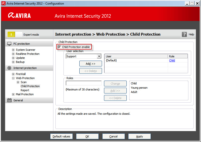 Avira Internet Security 2012 - Internet Protection - Web Protection - Child Protection
