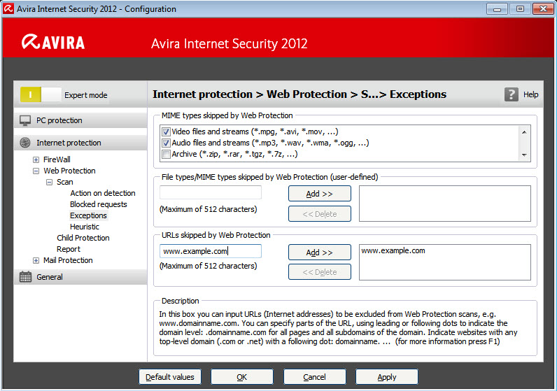 Web Protection configuration - Scan - Exceptions