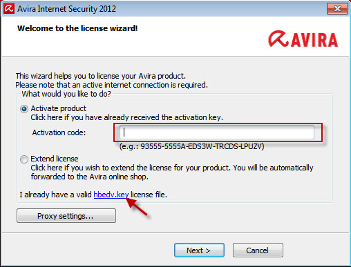 Avira Internet Security 2012 - 라이선스 마법사