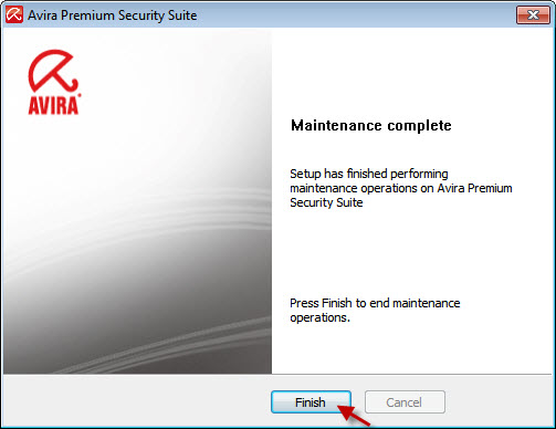 Avira Premium Security Suite - 安裝程式已完成 Avira Premium Security Suite 的維護作業
