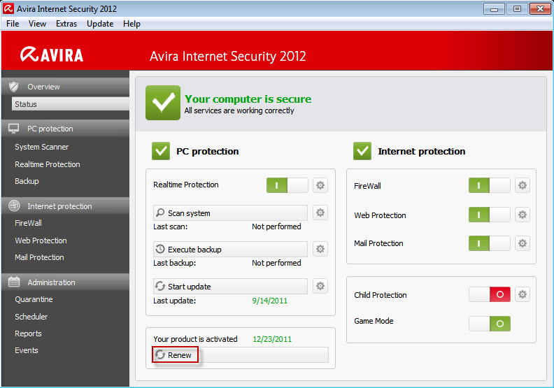Avira Internet Security - Overview > Status