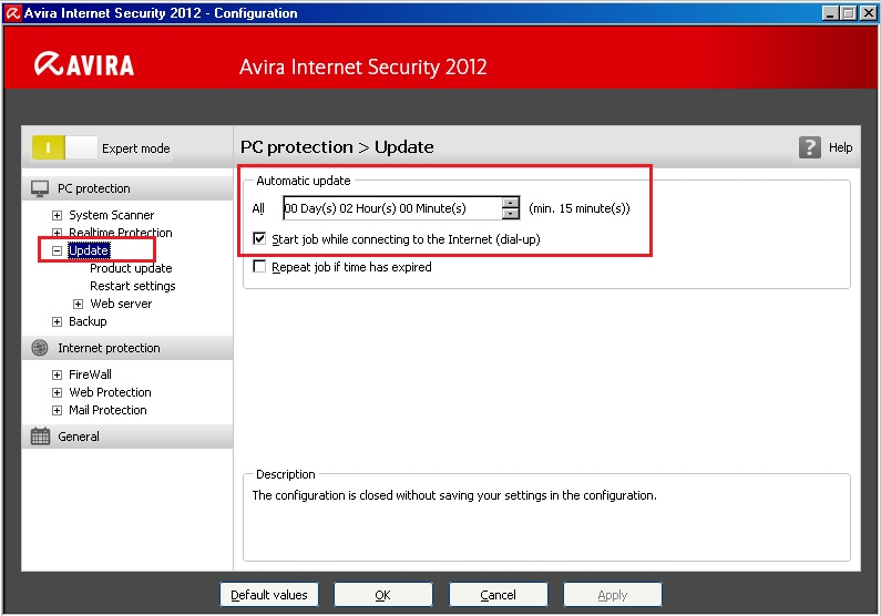 Avira Internet Security 2012 : Configuration