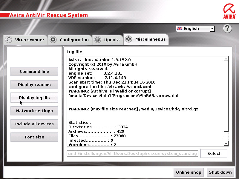 Avira AntiVir Rescue System - log file