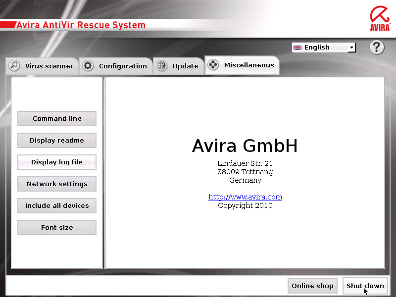 Avira AntiVir Rescue System - shut down