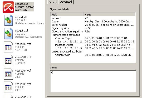 AntiVir updater - Advanced - VeriSign signature