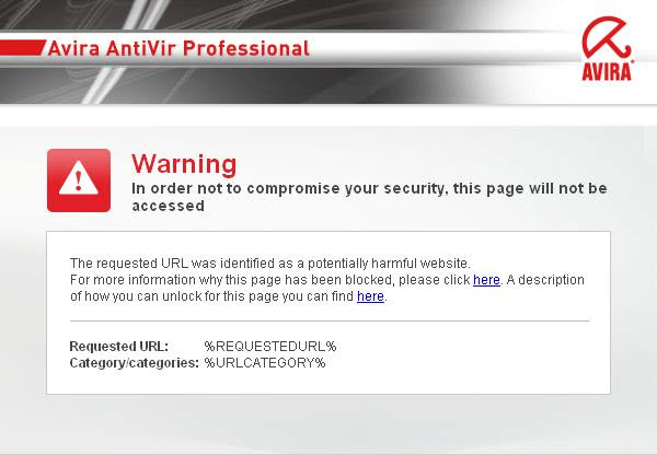 Avira AntiVir Professional - WebGuard - Advertencia