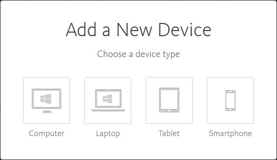 Avira Online Essentials - Add a new device