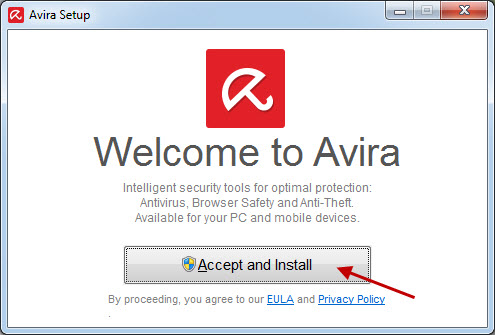 Avira Setup - Accept and Instal