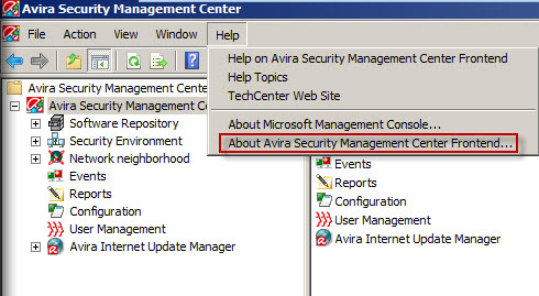 Avira SMC - About Avira Security Management Center Frontend