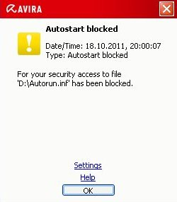 Avira Realtime Protection: Autorun blocked
