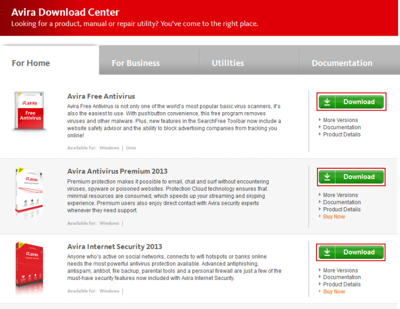 Avira Download Center - Für Home