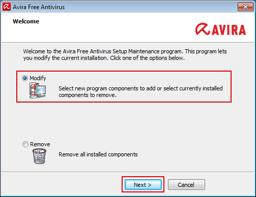 Avira Free Antivirus > Change installation > Modify