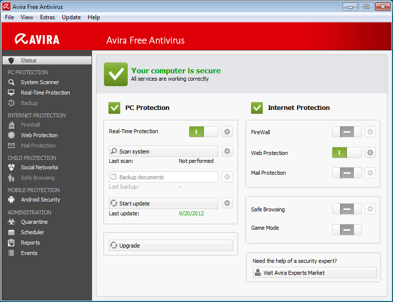 Avira Free Antivirus > Control Center